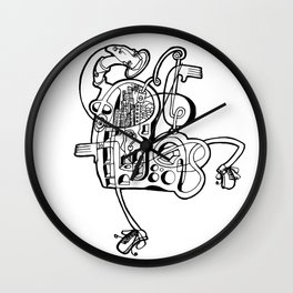 Halo Ink on Paper Drawing by Jordan Eismont Brooklyn, NYC Wall Clock