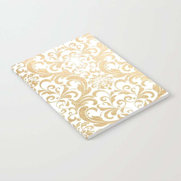 Gold swirls damask #2 Notebook