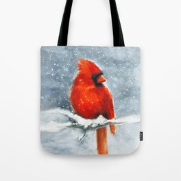 Northern Cardinal in the snow Tote Bag