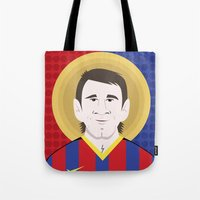 messi Tote Bags featuring Messi Barcelona by Damian Allende