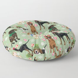 Coonhound Holiday Decorations Green Floor Pillow