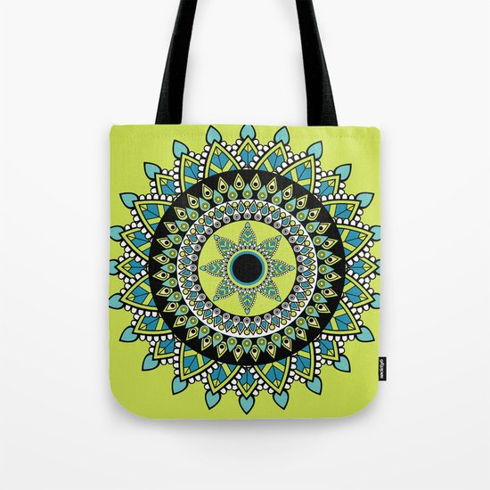 Green & Blue Decorated Indian Mandala Tote Bag