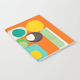 Geometric mid century modern orange shapes Notebook