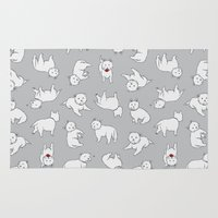 westie Area & Throw Rugs featuring Playful Westies by Circus Dog Industries