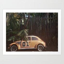 Vintage Car and Palm Tree Art Print