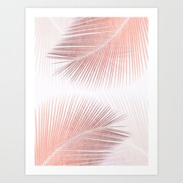 Palm leaf synchronicity - rose gold Art Print