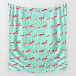 Tropical Pink Flamingos Watercolor & Mint Green Polka Dots Wall Tapestry