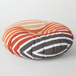 Watercolor Gouache Mid Century Modern Minimalist Colorful Burnt Sienna Stripes Floor Pillow
