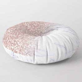 Rose Gold Pink Sparkles White Gray Marble Luxury II Floor Pillow