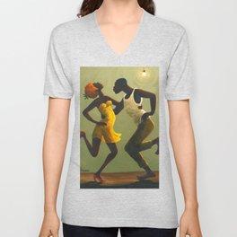 African American Masterpiece 'Hot Horn' by Orville Bulman Unisex V-Neck