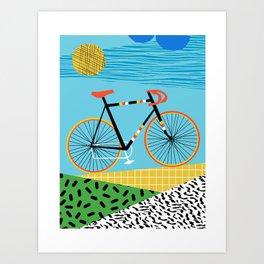 Roadie - peugeot px10, bicycle art print, cycling art, gifts for cyclists, memphis art print Art Print