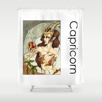 capricorn Shower Curtains featuring Capricorn by TammyWitzens