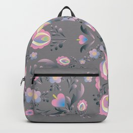 Folk Flowers in Pink and Grey Backpack