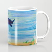 sea turtle Mugs featuring Turtle by Lissasdesigns