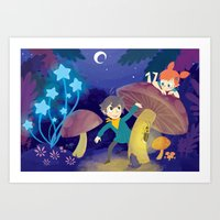 pixies Art Prints featuring Chasing Pixies by Miski