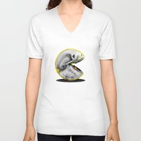 pacman V-neck T-shirts featuring Skull Pacman by Diego Tirigall