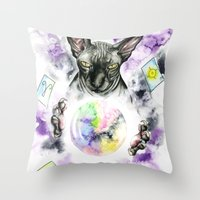 scarface Throw Pillows featuring Daubie the fortune teller  by Psyca