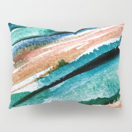 Here's to the Dreamers [2]: a minimal, watercolor abstract piece in pinks, green, blue, and white Pillow Sham