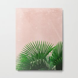 Palm Leaves On Pink Background Metal Print