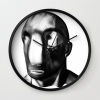 men Wall Clocks featuring men before men by massimo bianchi