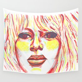 Bridget Bardot in Bright Primary Lines Wall Tapestry