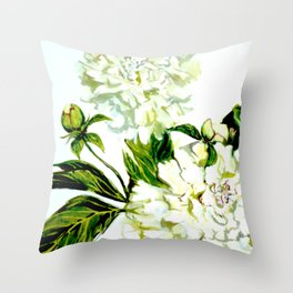 White Peonies in watercolor Throw Pillow