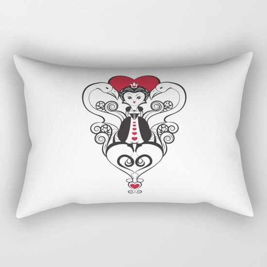 Queen of Hearts  | black, white and red Rectangular Pillow