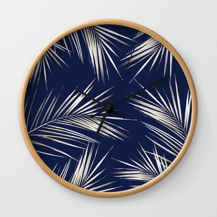 White Gold Palm Leaves on Navy Blue Wall Clock