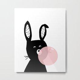 Bubble Gum Bunny Poster, kids bunny art, modern childrens art, rabbit, bunny portrait Metal Print