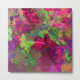 Fusion In Pink And Green Metal Print