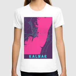 Kalmar Neon City Map, Kalmar Minimalist City Map Art Print T-shirt