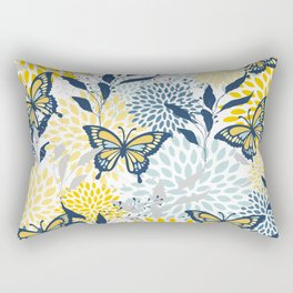 Floral and Butterflies Print, Blue and Yellow Rectangular Pillow