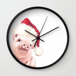 Christmas Pink Pig Wall Clock