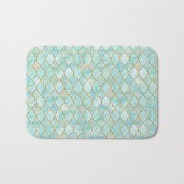 Luxury Aqua and Gold oriental pattern Bath Mat
