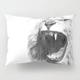Black White Fierce Lion Pillow Sham