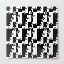 Black and White Floral Geometric Print Metal Print
