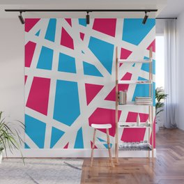 Abstract Interstate  Roadways Aqua Blue & Hot Pink Color Wall Mural
