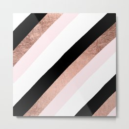 Modern trendy black blush pink rose gold geometric stripes pattern Metal Print
