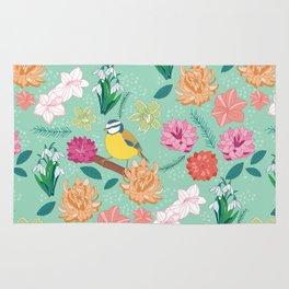 Joyful colourful floral pattern with bird Rug