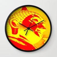 buddah Wall Clocks featuring Buddah Head 04; Orange Blush by Kether Carolus
