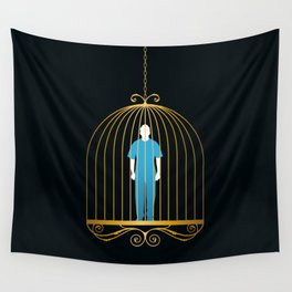 Man in golden bird cage Wall Tapestry