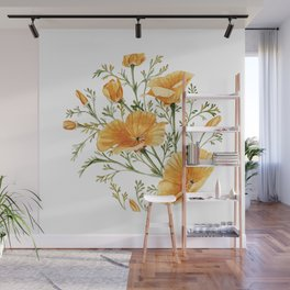 California Poppies - Watercolor Painting Wall Mural