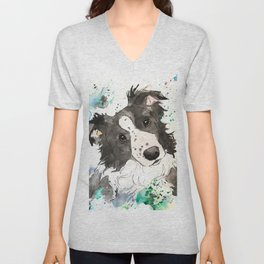 Curious Border Collie Dog Art Unisex V-Neck