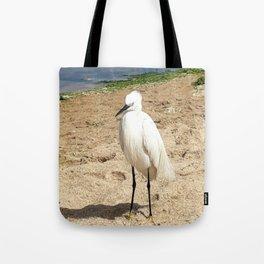 A friendly Heron on the beach Tote Bag