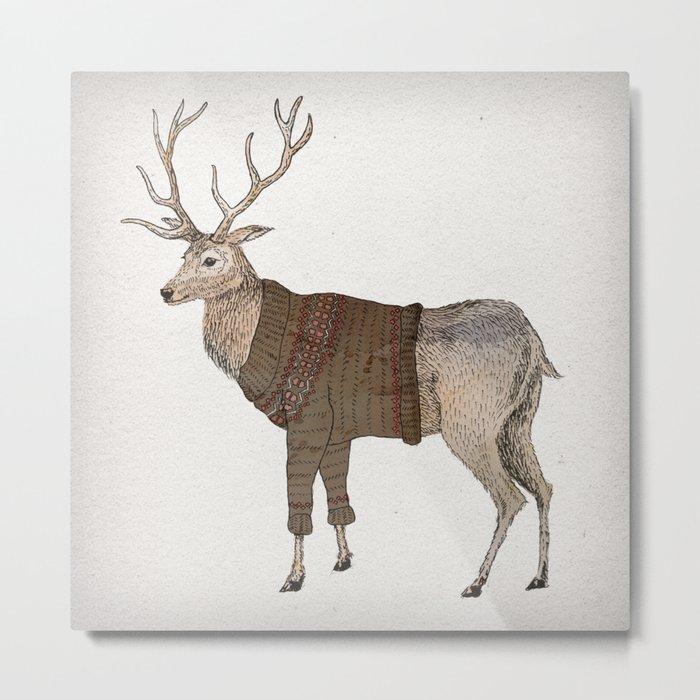 Winter Stag Metal Print