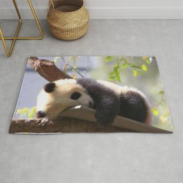 Marvelous Super Cute Little Baby Panda Relaxing In Tree Branches Ultra HD Rug