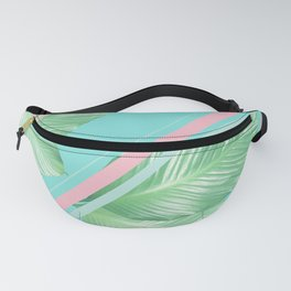 Tropical Summer Leaves Stripes - Cali Vibes #1 #tropical #decor #art #society6 Fanny Pack