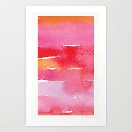 Red Watercolor Stripes Art Print