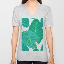 Giant Elephant Ear Leaves in White Unisex V-Neck