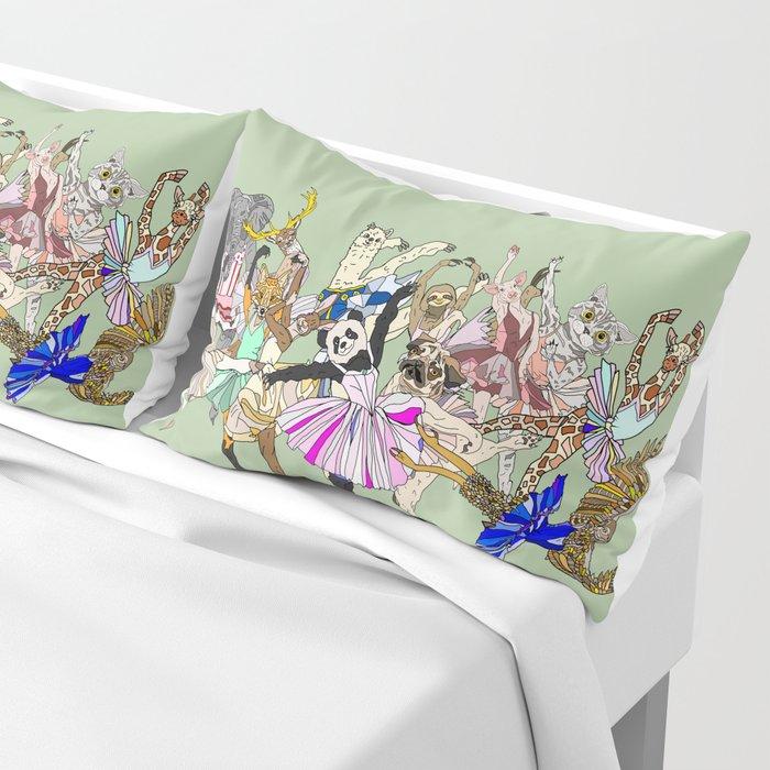 Animal Ballet Hipsters - Green Pillow Sham